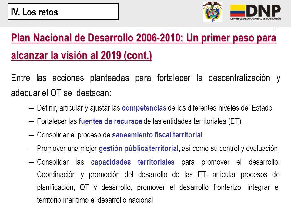 IV. Los retos Plan Nacional de Desarrollo 2006-2010: Un primer paso para alcanzar la visión al 2019 (cont.)