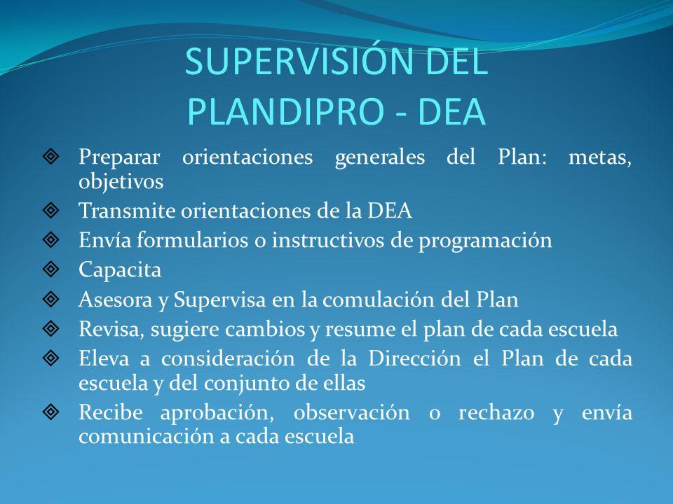 SUPERVISIÓN DEL PLANDIPRO - DEA
