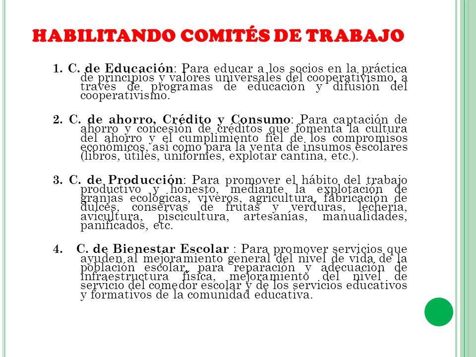 HABILITANDO COMITÉS DE TRABAJO