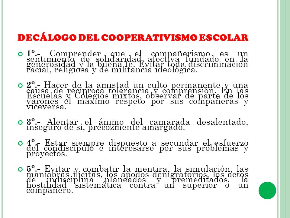 DECÁLOGO DEL COOPERATIVISMO ESCOLAR