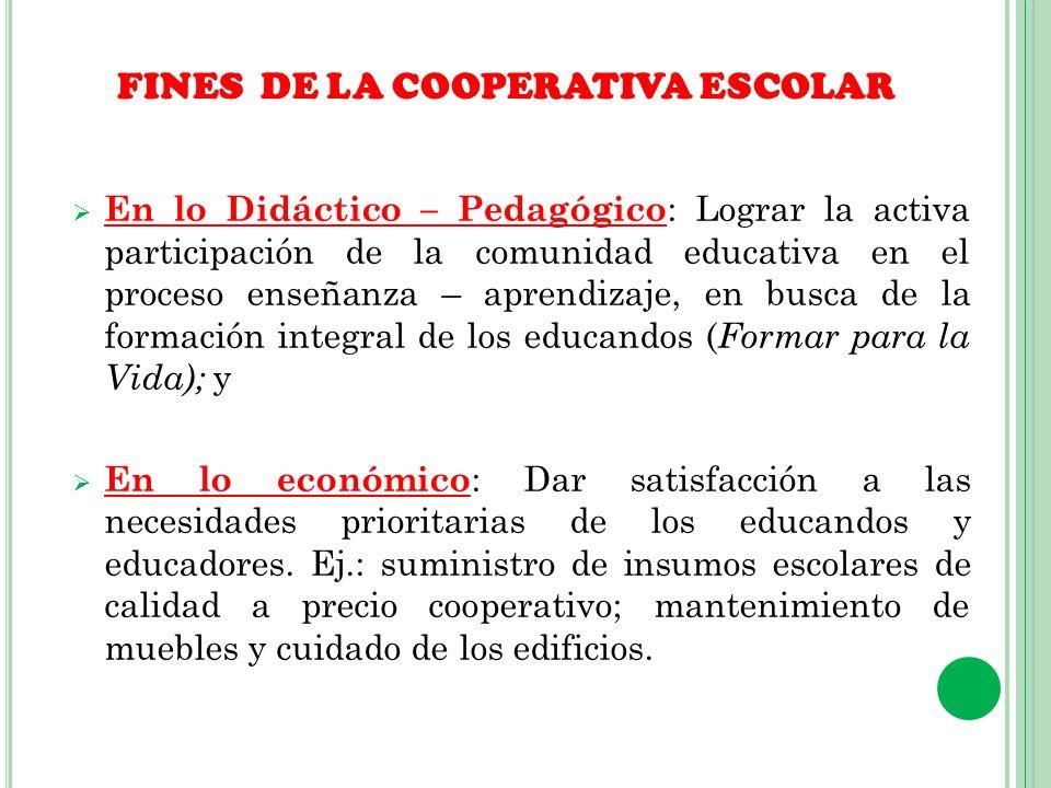 FINES DE LA COOPERATIVA ESCOLAR