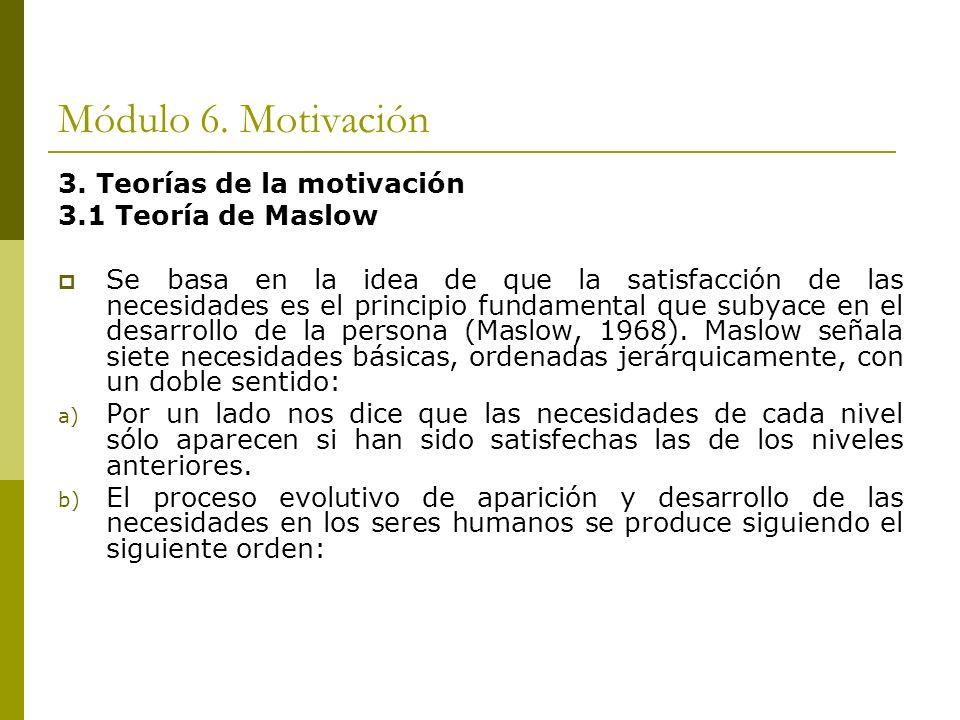 Módulo 6. Motivación 3. Teorías de la motivación 3.1 Teoría de Maslow