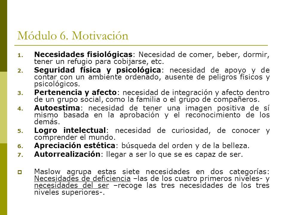 Módulo 6. Motivación Necesidades fisiológicas: Necesidad de comer, beber, dormir, tener un refugio para cobijarse, etc.