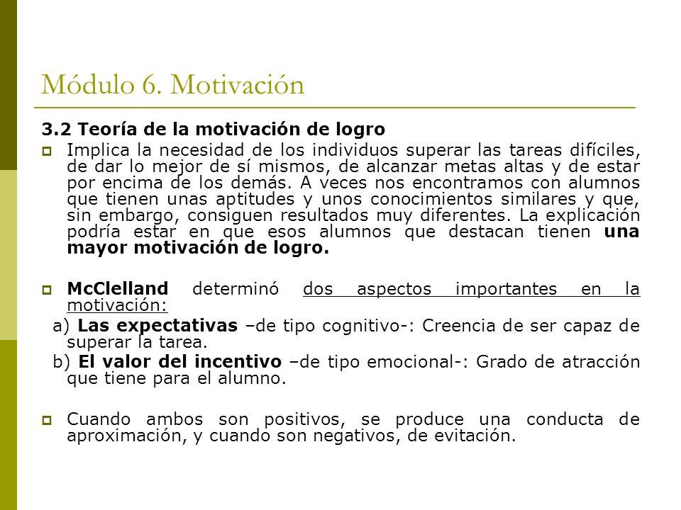 Módulo 6. Motivación 3.2 Teoría de la motivación de logro