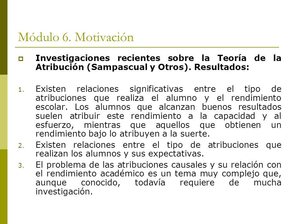 Módulo 6. Motivación Investigaciones recientes sobre la Teoría de la Atribución (Sampascual y Otros). Resultados: