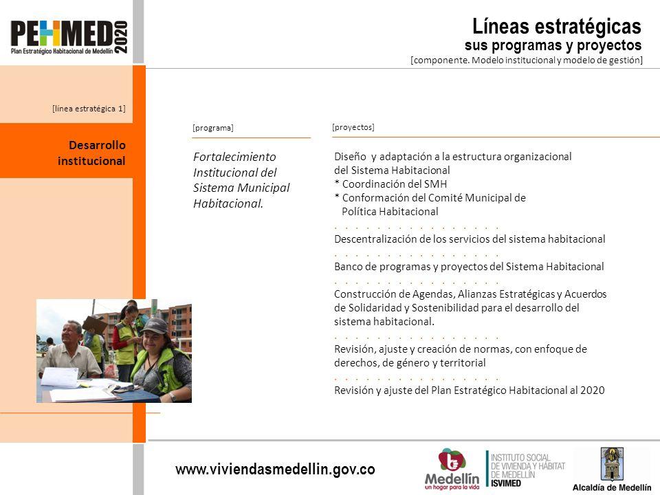 Líneas estratégicas sus programas y proyectos Desarrollo institucional