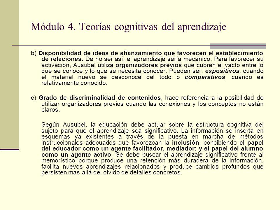Módulo 4. Teorías cognitivas del aprendizaje