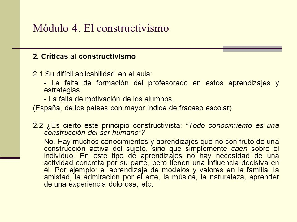 Módulo 4. El constructivismo