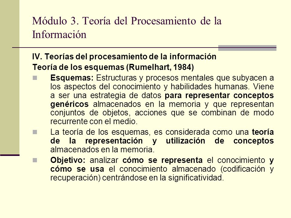Módulo 3. Teoría del Procesamiento de la Información