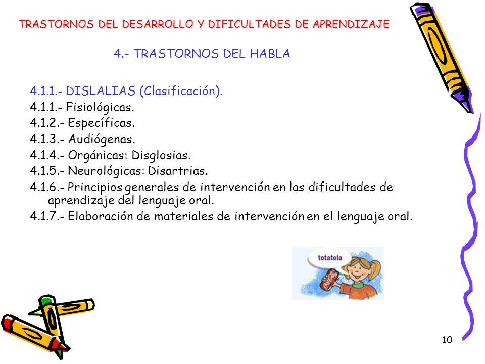 4.1.1.- DISLALIAS (Clasificación). 4.1.1.- Fisiológicas.