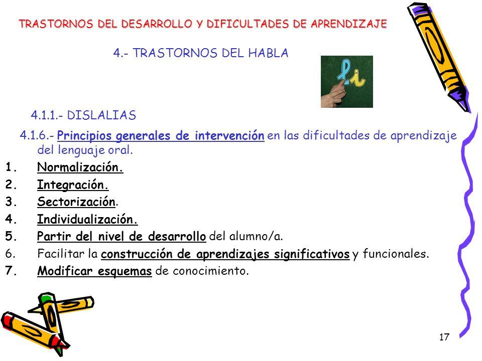4.1.1.- DISLALIAS 4.- TRASTORNOS DEL HABLA