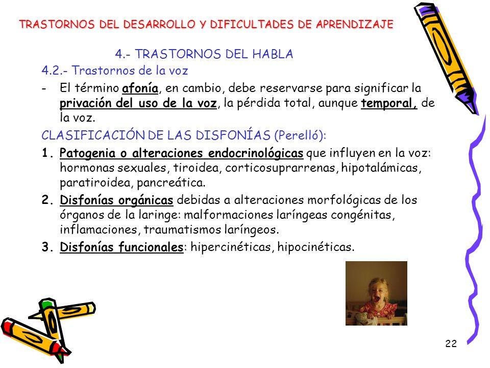 CLASIFICACIÓN DE LAS DISFONÍAS (Perelló):