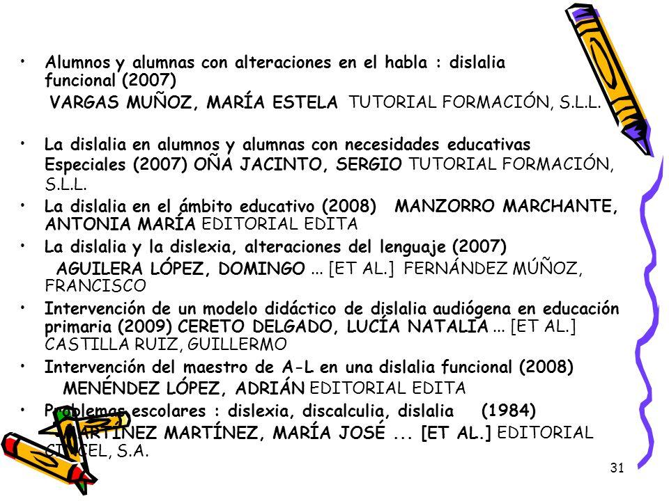 Alumnos y alumnas con alteraciones en el habla : dislalia funcional (2007)