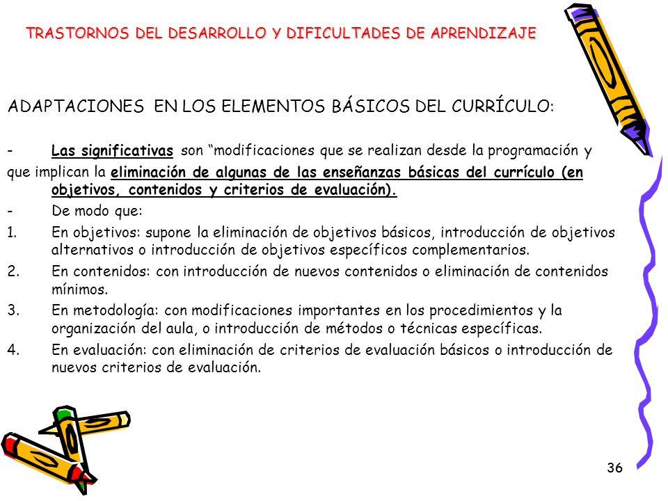 ADAPTACIONES EN LOS ELEMENTOS BÁSICOS DEL CURRÍCULO: