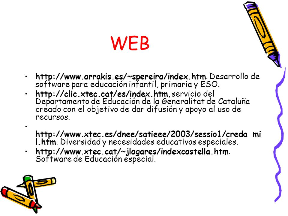 WEB http://www.arrakis.es/~spereira/index.htm. Desarrollo de software para educación infantil, primaria y ESO.