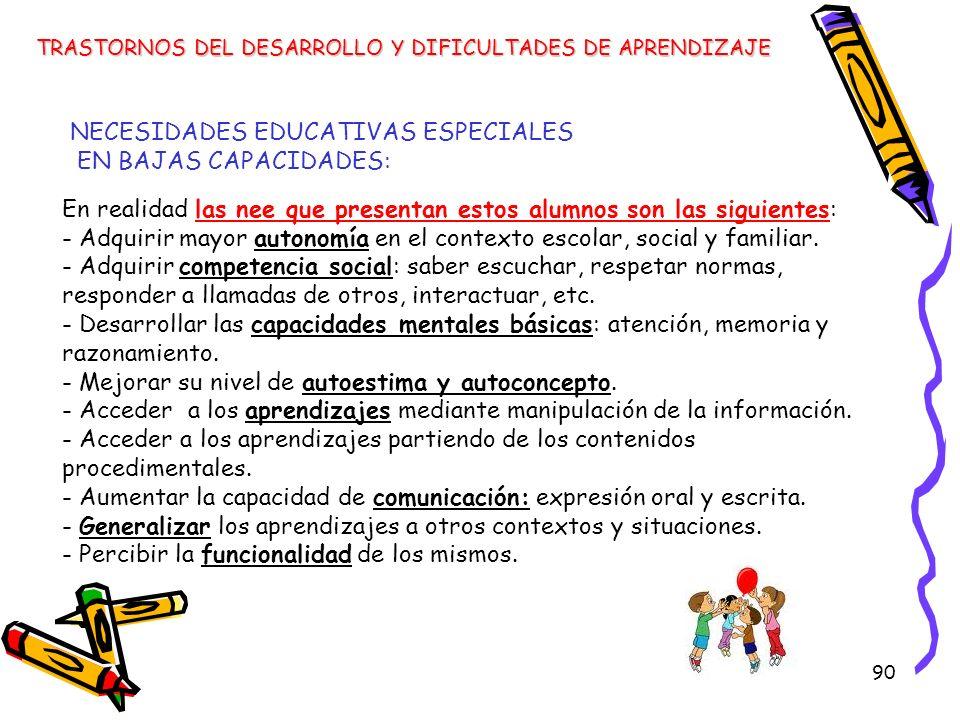 NECESIDADES EDUCATIVAS ESPECIALES EN BAJAS CAPACIDADES:
