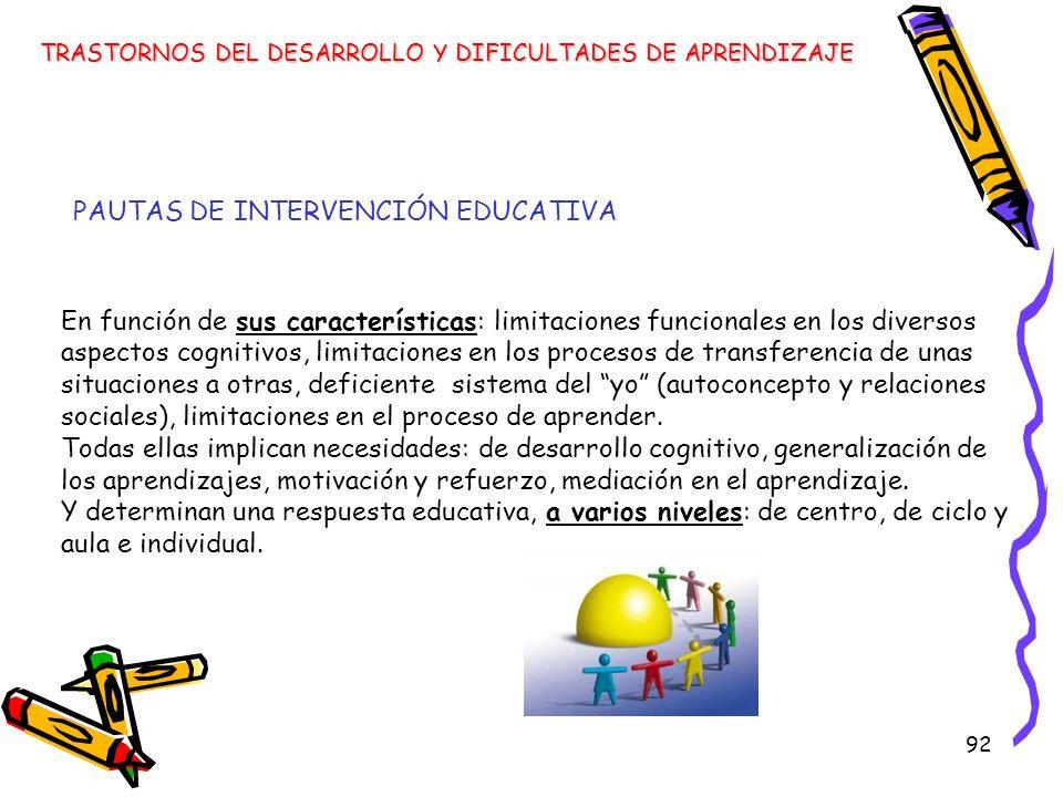 PAUTAS DE INTERVENCIÓN EDUCATIVA