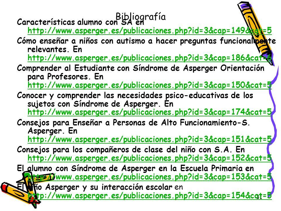 Bibliografía Características alumno con SA en http://www.asperger.es/publicaciones.php id=3&cap=149&cat=5.