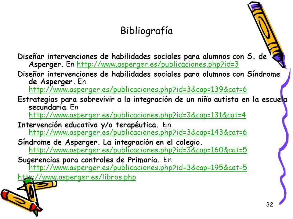 Bibliografía Diseñar intervenciones de habilidades sociales para alumnos con S. de Asperger. En http://www.asperger.es/publicaciones.php id=3.