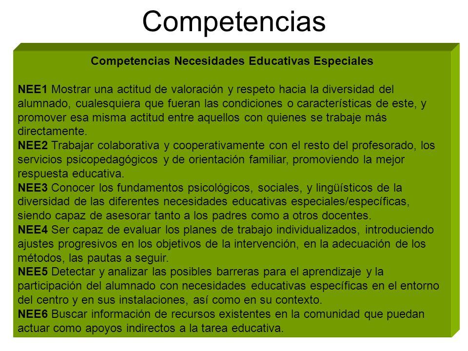 Competencias Necesidades Educativas Especiales