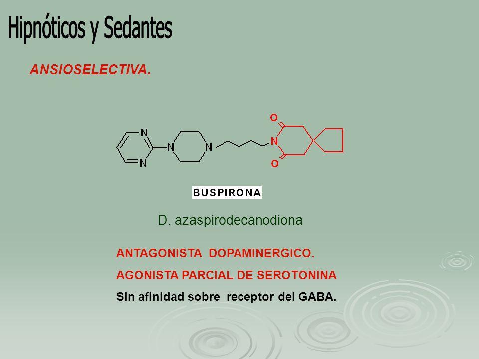 Hipnóticos y Sedantes ANSIOSELECTIVA. D. azaspirodecanodiona