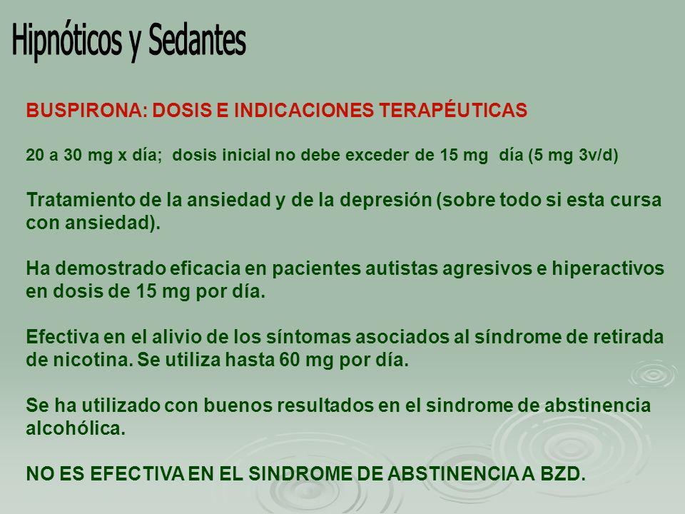 Hipnóticos y Sedantes BUSPIRONA: DOSIS E INDICACIONES TERAPÉUTICAS