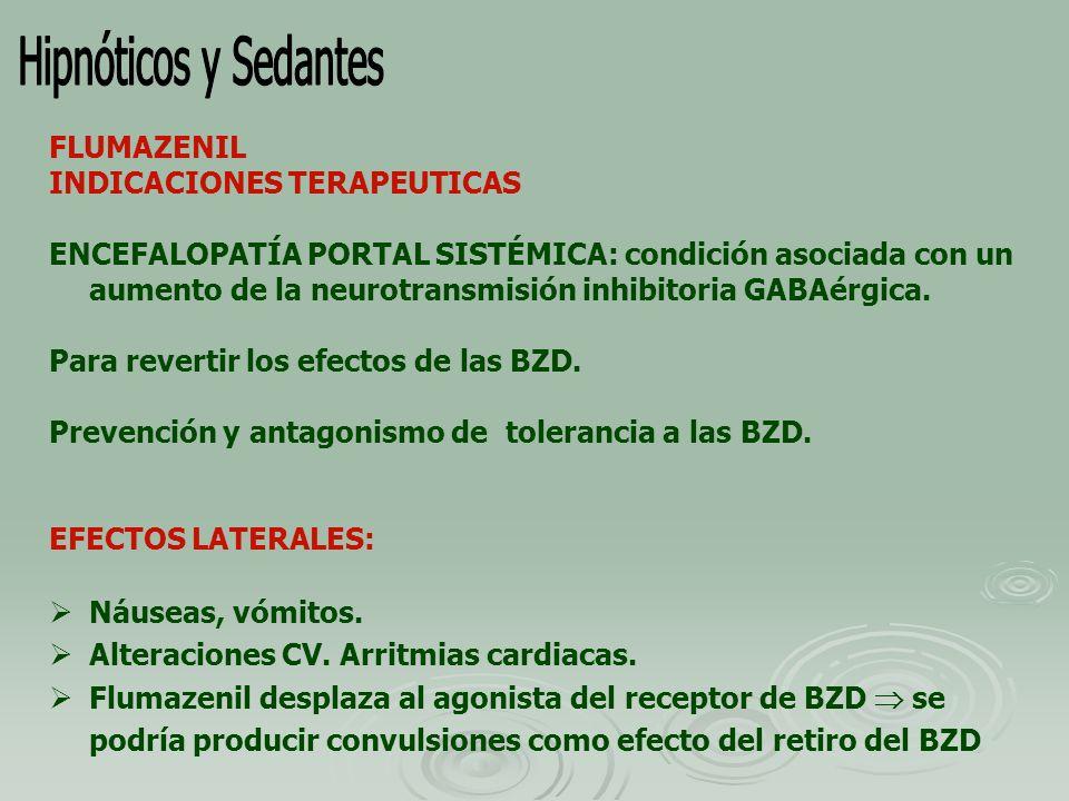 Hipnóticos y Sedantes FLUMAZENIL INDICACIONES TERAPEUTICAS