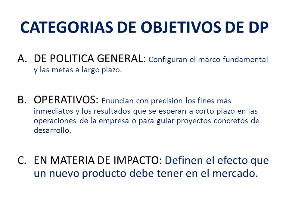 CATEGORIAS DE OBJETIVOS DE DP