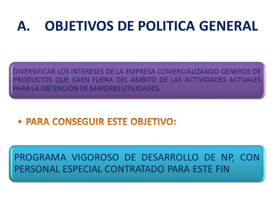 A. OBJETIVOS DE POLITICA GENERAL