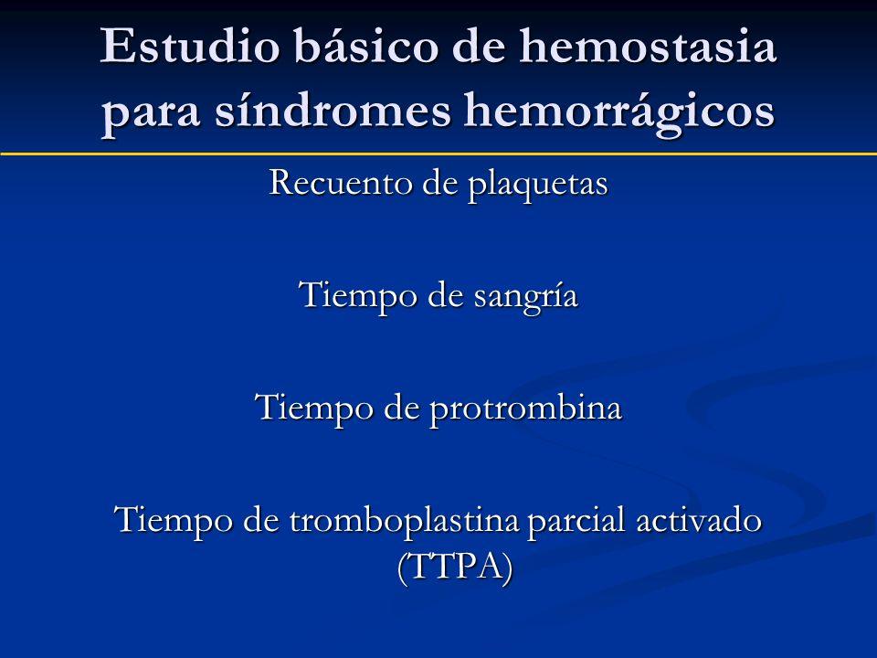 Estudio básico de hemostasia para síndromes hemorrágicos
