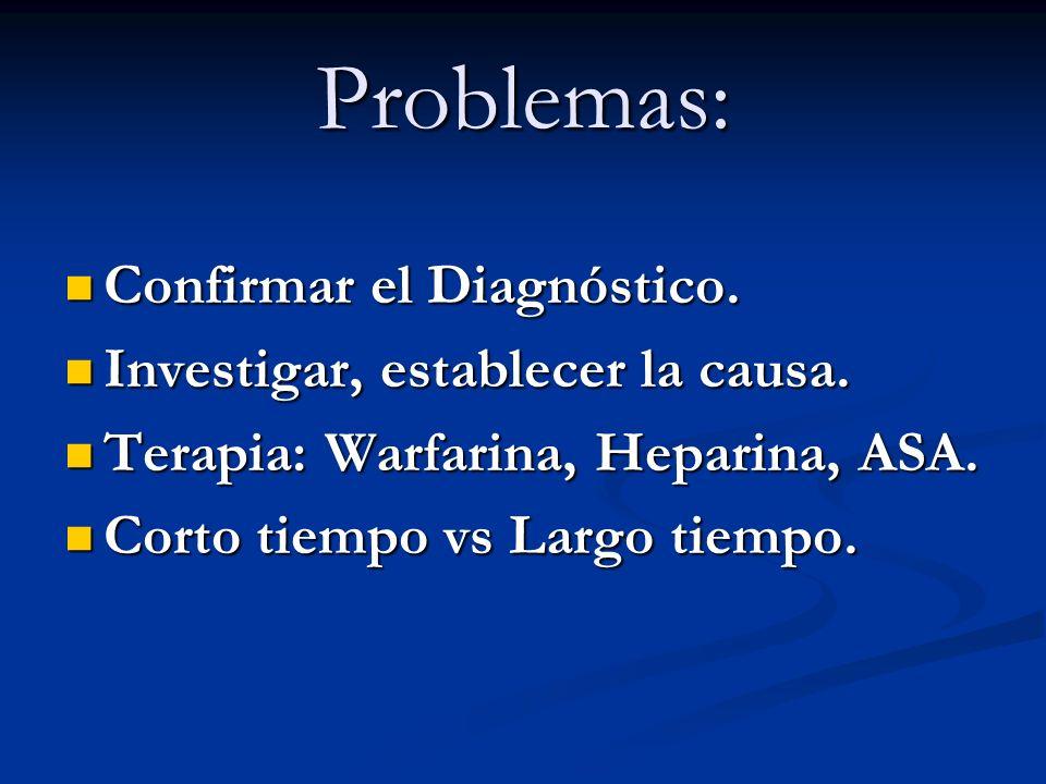 Problemas: Confirmar el Diagnóstico. Investigar, establecer la causa.