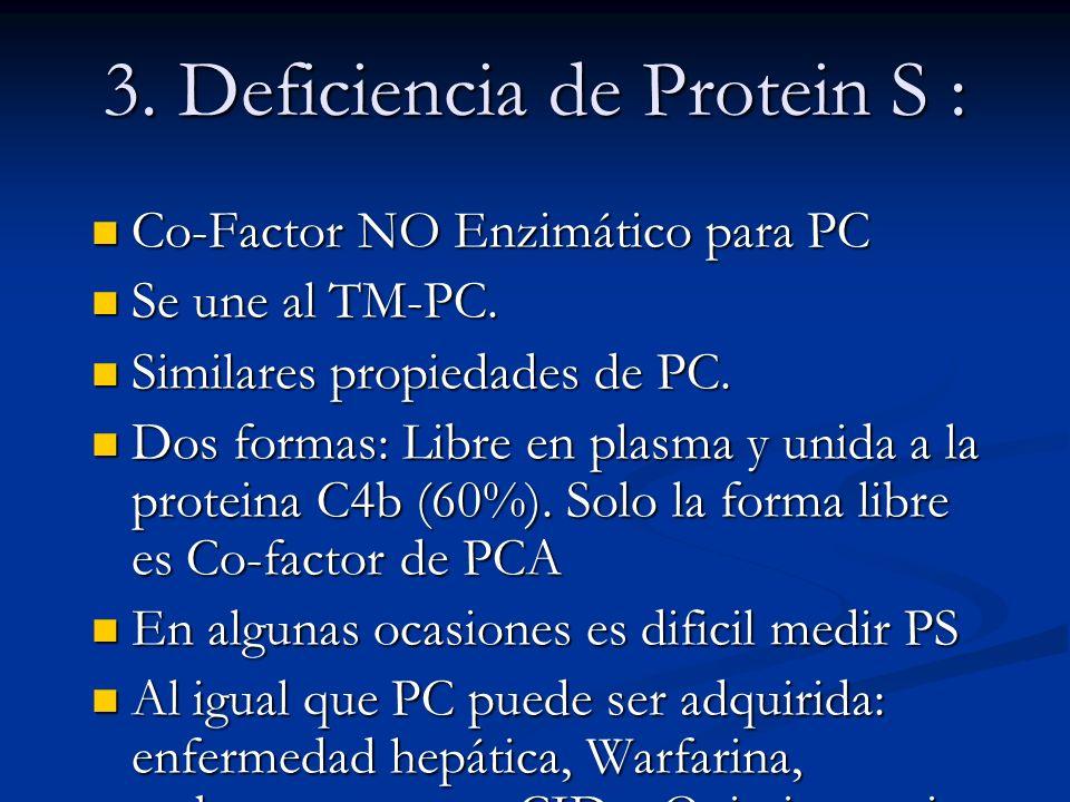 3. Deficiencia de Protein S :
