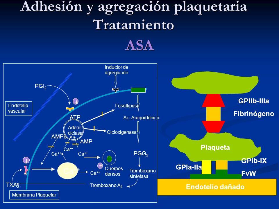Adhesión y agregación plaquetaria Tratamiento