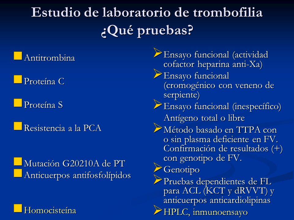 Estudio de laboratorio de trombofilia ¿Qué pruebas