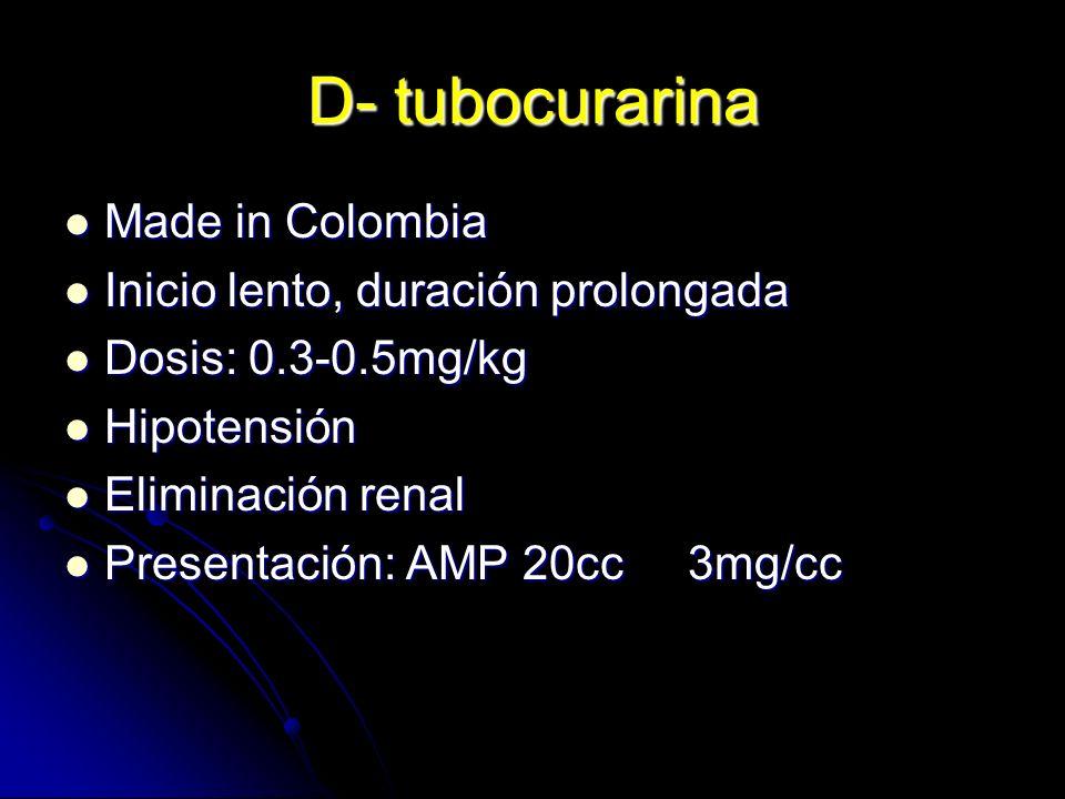 D- tubocurarina Made in Colombia Inicio lento, duración prolongada