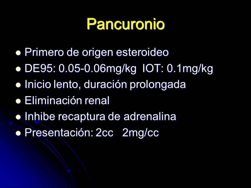 Pancuronio Primero de origen esteroideo