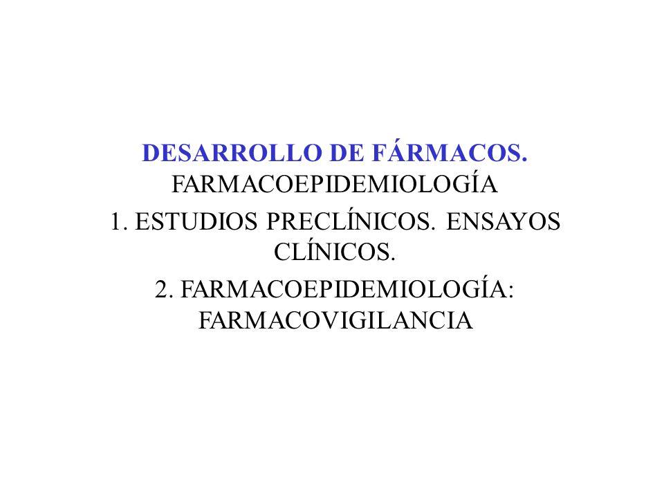 DESARROLLO DE FÁRMACOS. FARMACOEPIDEMIOLOGÍA