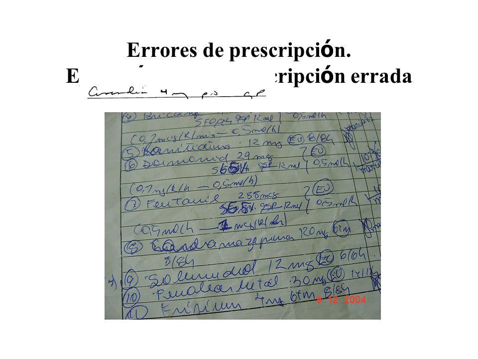 Errores de prescripción. Ejecución de una prescripción errada