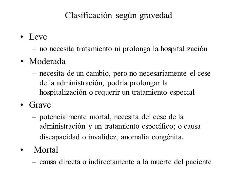 Clasificación según gravedad