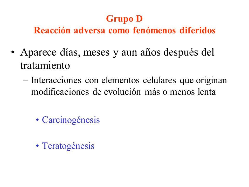 Grupo D Reacción adversa como fenómenos diferidos