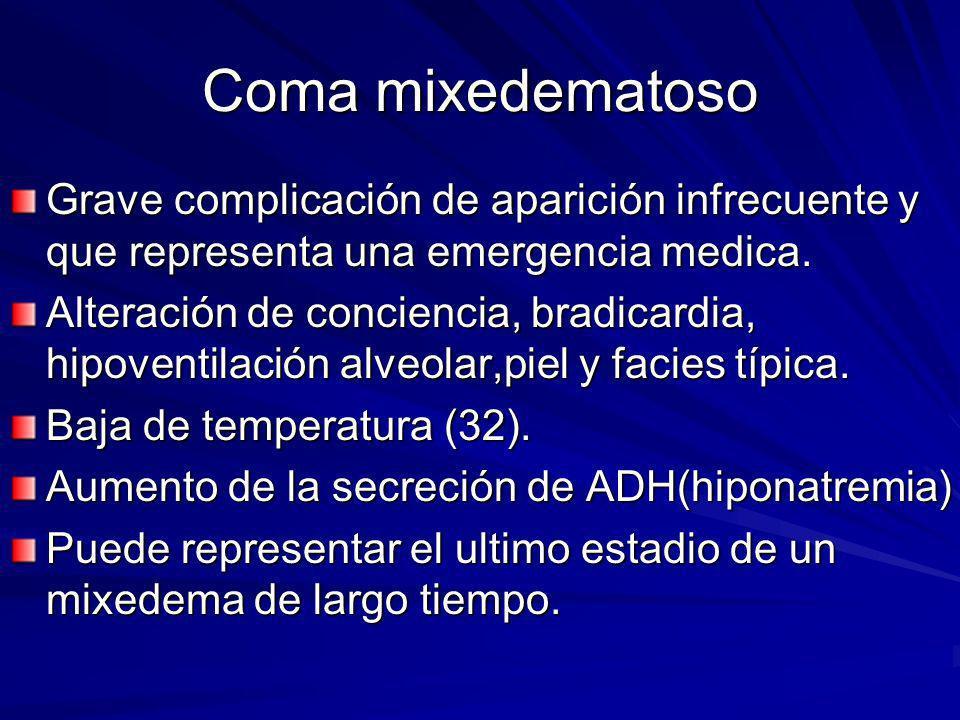Coma mixedematoso Grave complicación de aparición infrecuente y que representa una emergencia medica.