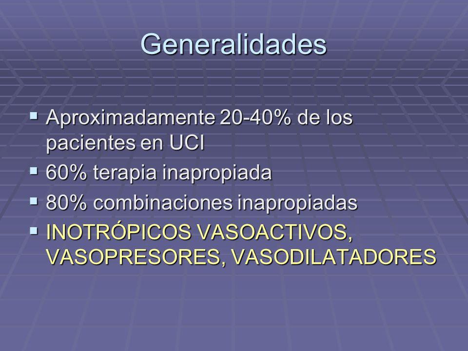 Generalidades Aproximadamente 20-40% de los pacientes en UCI