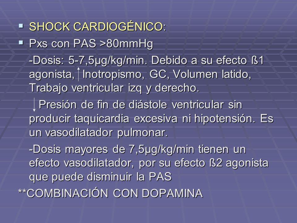 SHOCK CARDIOGÉNICO: Pxs con PAS >80mmHg.