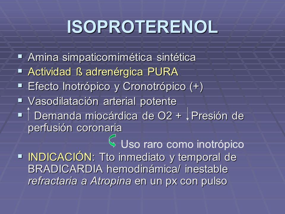 ISOPROTERENOL Amina simpaticomimética sintética