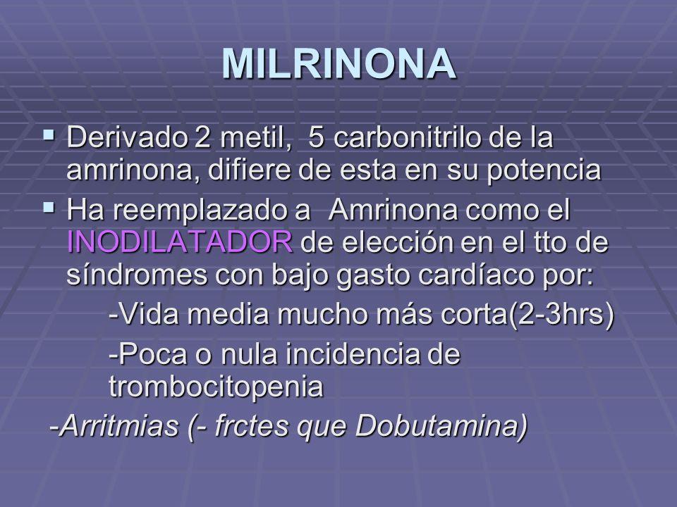 MILRINONA Derivado 2 metil, 5 carbonitrilo de la amrinona, difiere de esta en su potencia.