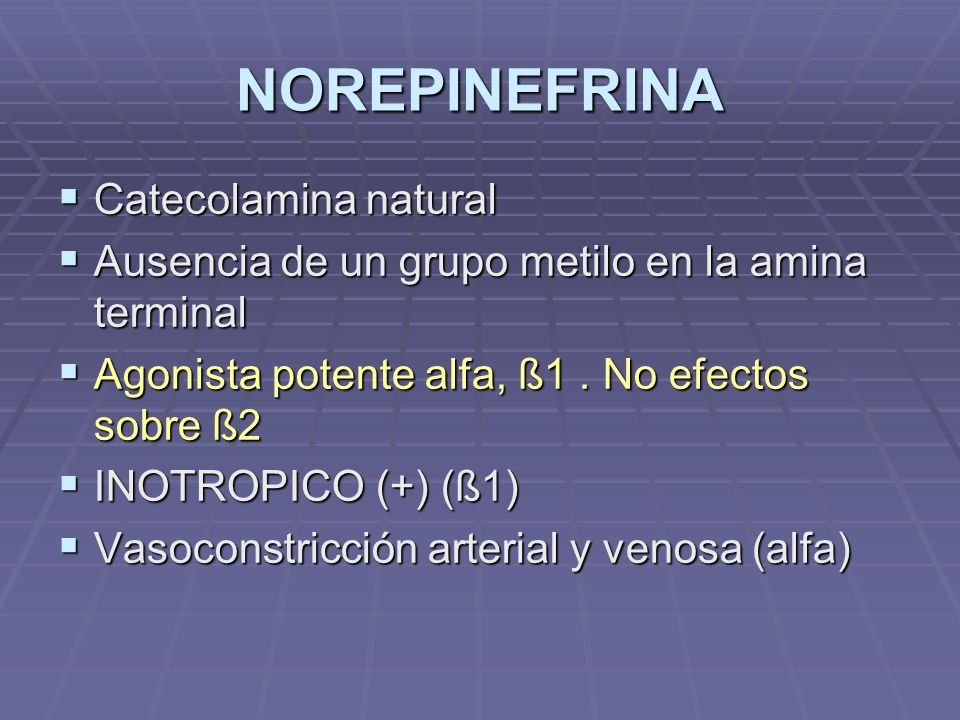 NOREPINEFRINA Catecolamina natural