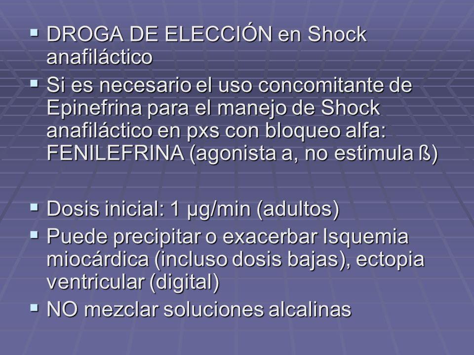 DROGA DE ELECCIÓN en Shock anafiláctico