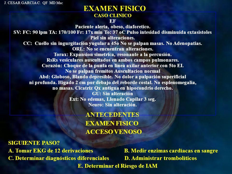 EXAMEN FISICO ANTECEDENTES EXAMEN FISICO ACCESO VENOSO SIGUIENTE PASO