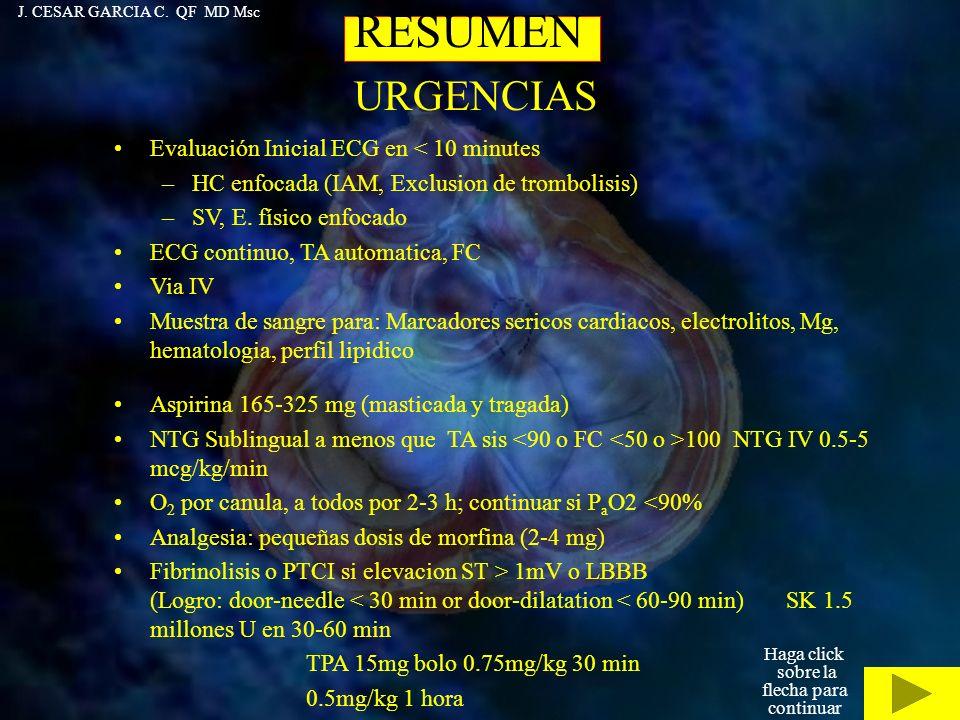 RESUMEN URGENCIAS Evaluación Inicial ECG en < 10 minutes