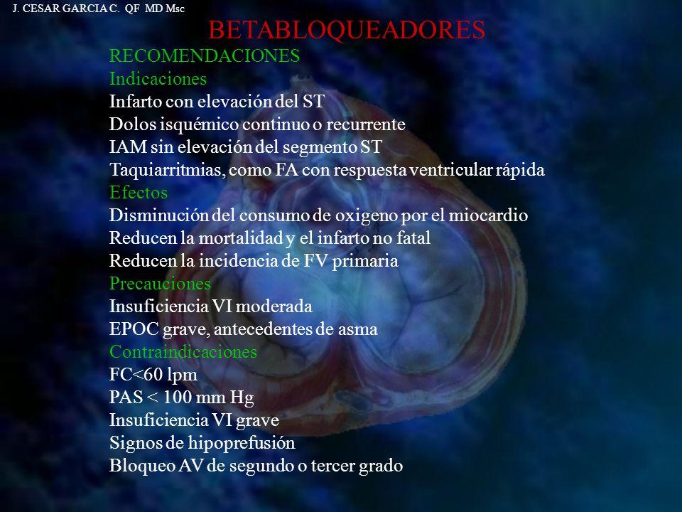 BETABLOQUEADORES RECOMENDACIONES Indicaciones